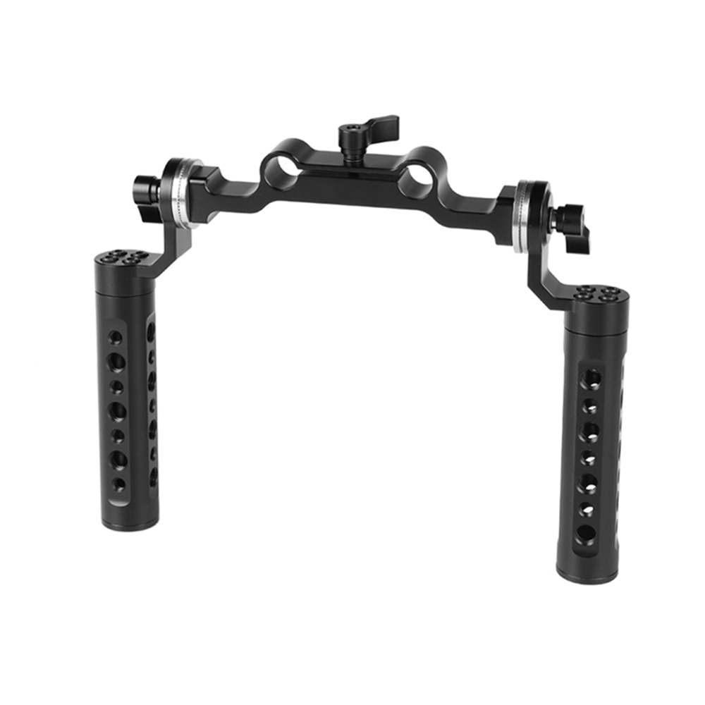 CAMVATE Dual Cheese Handgrip With Rosette M6 Mount Connection & 15mm Rod Clamp For DSLR Camera Shoulder Mount Rig Support System enlarge