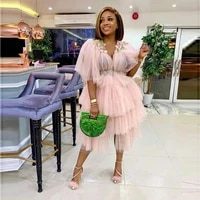 pink tulle cocktail dresses tiered layers tulle half sleeves prom dress african women gowns custom made plus size