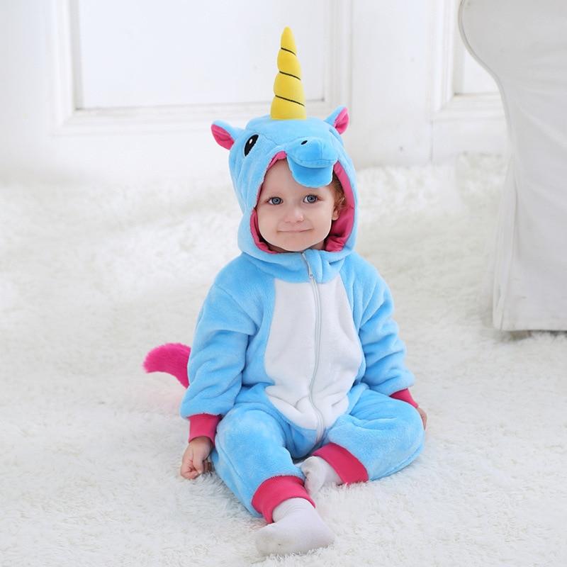 Licorne Kigurumis déguisement bébé garçon fille Animal Cosplay Costume rose bleu violet mignon Kawaii combinaison 0-3 ans enfant fermeture éclair Onesie