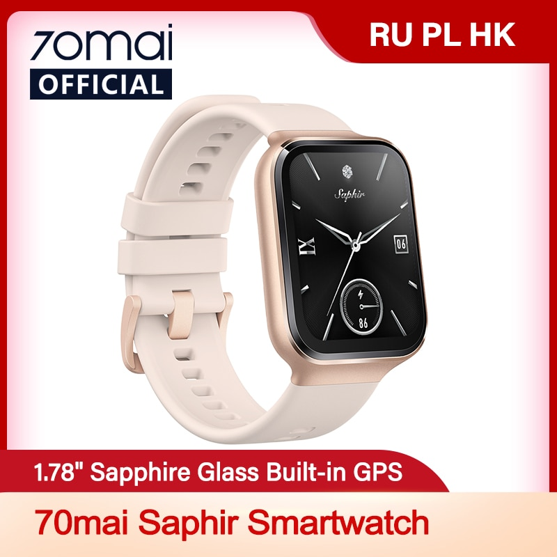 70mai Watch GPS Sports 70mai Watch Saphir Bluetooth Heart Rate MonitorSmartwatch 5ATM Water Resistance Call Reminder for Man