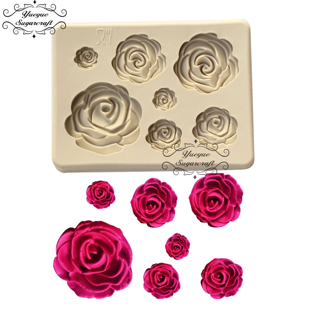 Yueyue Sugarcraft силиконовая форма в виде цветка розы помадной формы для украшения торта инструменты для шоколада confeitaria форма для выпечки аксессуары