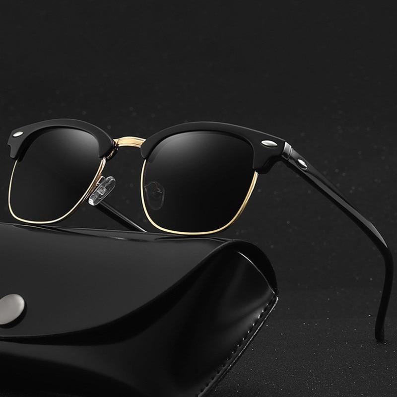VWKTUUN Polarized Sunglasses Men Women Classic Brand Design Sun Glasses Square Semi Rimless Vintage Mens UV400 Oculos