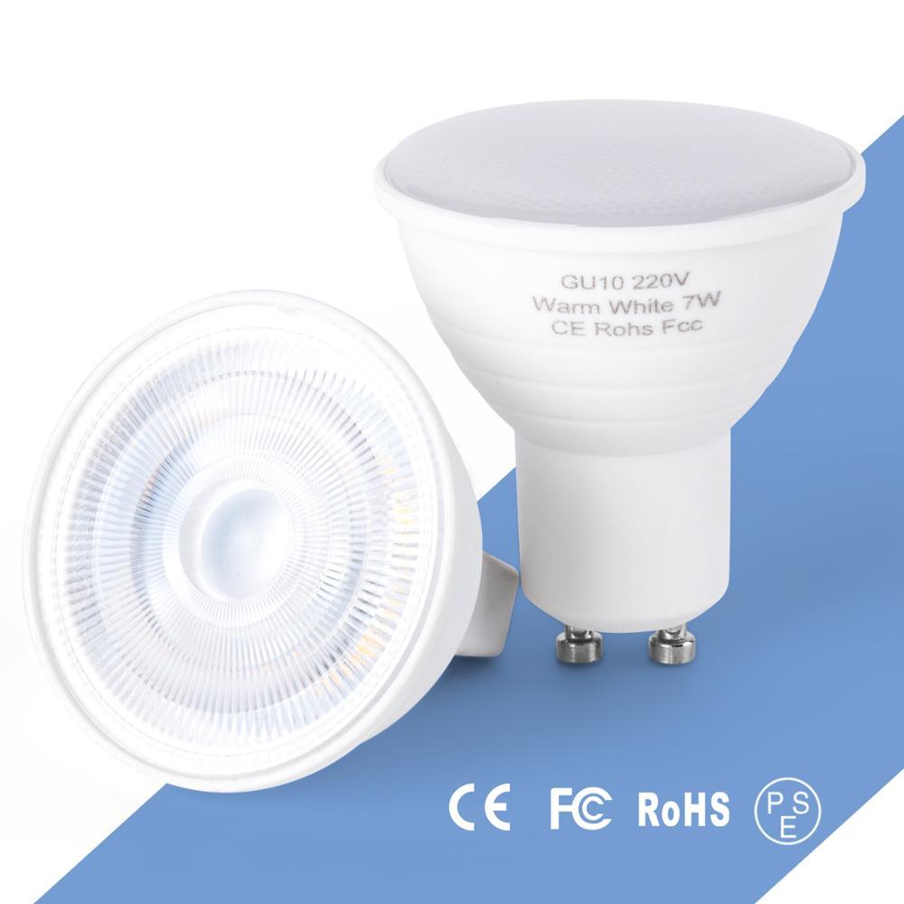 MR16, luces LED para lámpara GU10 foco para lámpara LED SMD 2835, 5W, 7W, Bombillas lámpara de ahorro de energía para iluminación del hogar 220V