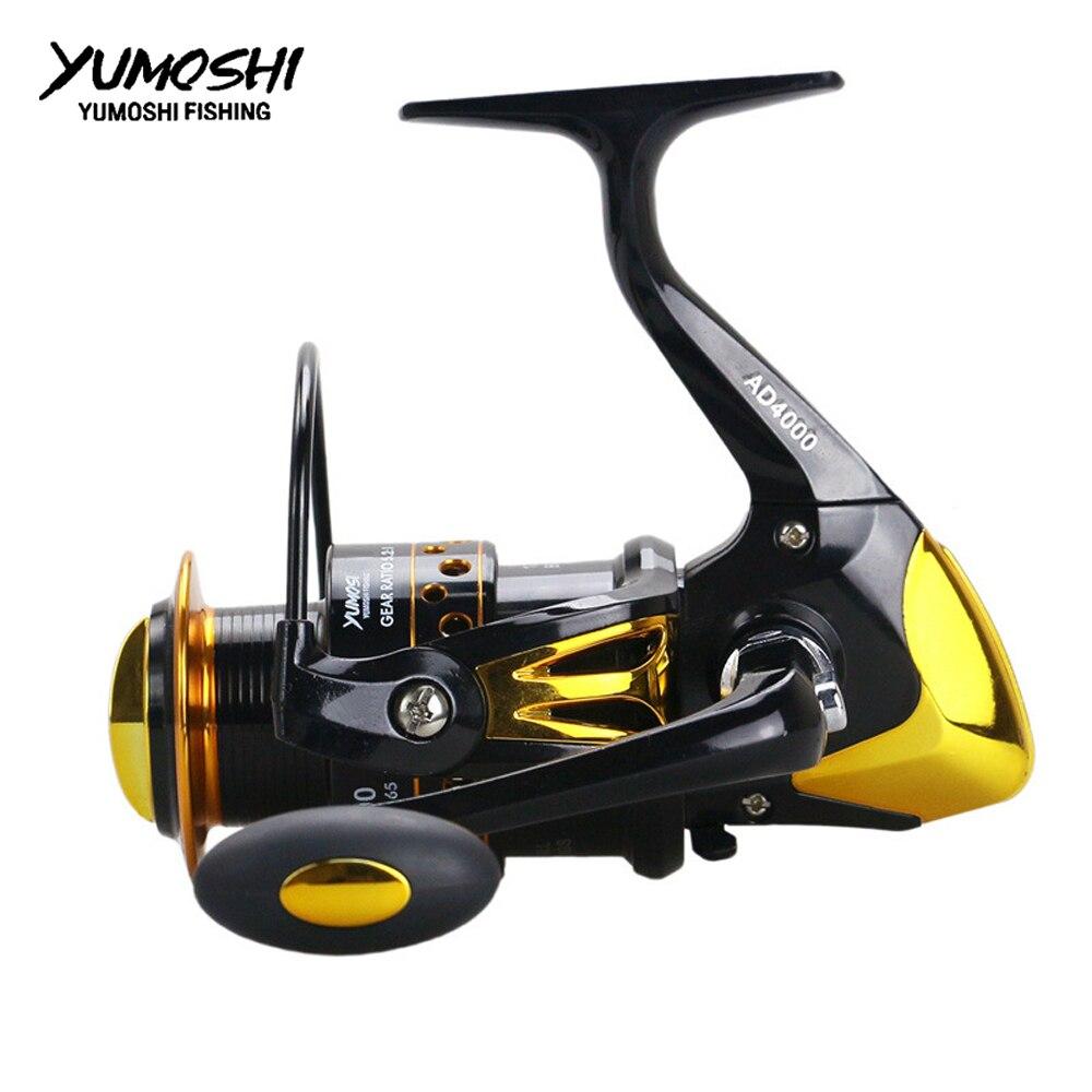 AliExpress - YUMOSHI Fishing Reel Metal Body Fishing Accessories 12BB+1 Carp 5.5:1 2000-9000 Series Fishing Wheel Carretilha Reels AD