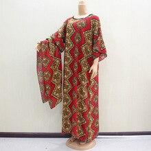 Robe Dashiki africaine imprimé motif Hijab coton ethnique écharpe musulmane Abaya Bazin Robe robes Broder Riche Sexy dame soirée