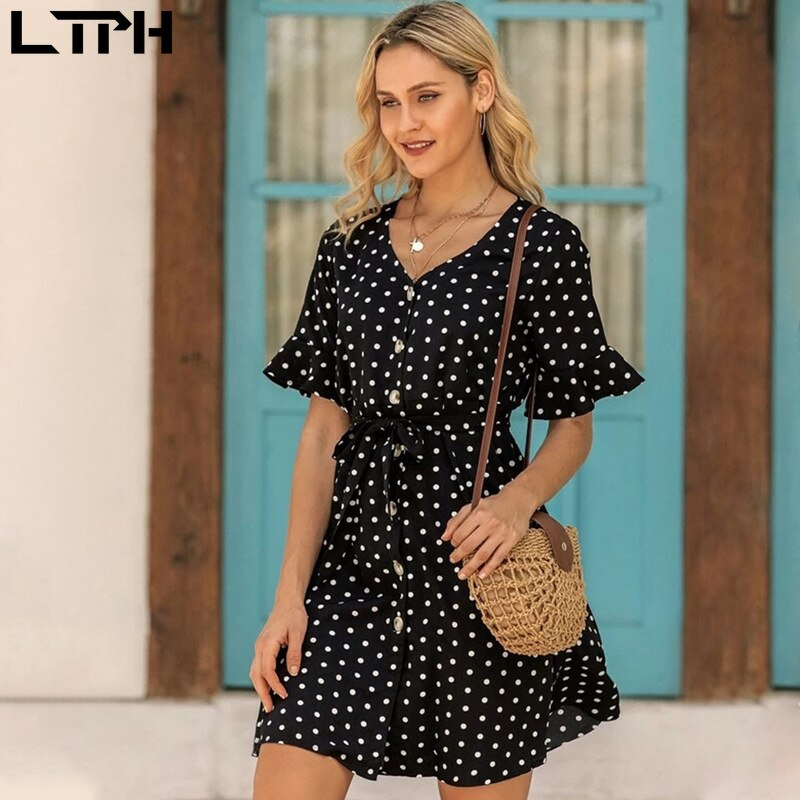 LTPH 2020 Summer Hot sale New Fashion Chiffon women dress Dot Print slim waist classic single-breasted sweet wild Casual dresses