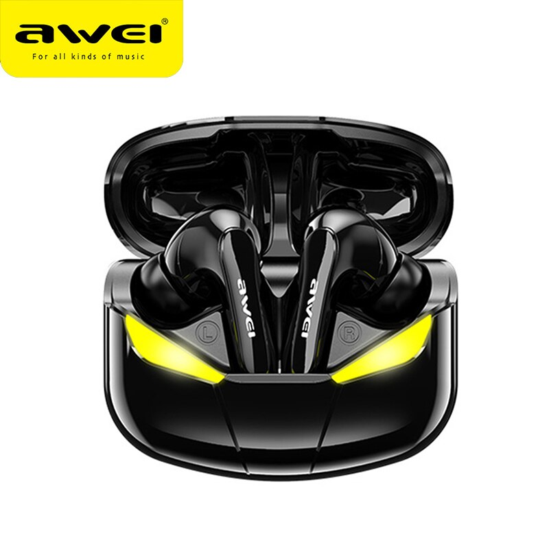 AWEI T35 TWS سماعات للعب سماعة لاسلكية تعمل بالبلوتوث سماعة أذن رياضية مضخم صوت صحيح سماعة ستيريو لاسلكية مع ميكروفون الهاتف