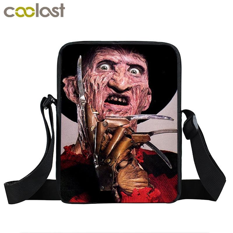Horrible Nightmare Mini Messenger Bag Chucky Jason Freddy Shoulder Bag For Young Men Freedy VS Jason Teenage Crossbody Bags