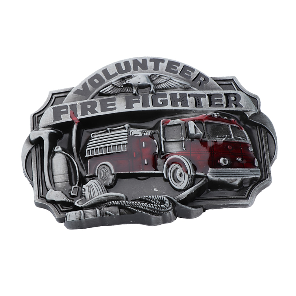 Los hombres clásico antiguo camión americano de bomberos voluntarios de Metal hebilla de cinturón jeans accesorio
