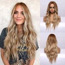 Uzun dalgalı kahverengi sarışın Ombre saç peruk orta kısmı isıya dayanıklı sentetik peruk Afro kadın Cosplay doğal peruk