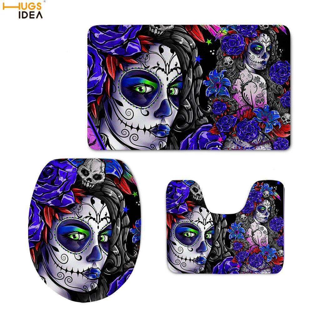 HUGSIDEA Gothnic Skull Girls Prints Toilet Accessories Inodoro Mat Bathroom Anti Slip Shower Pad Soft Flannel Toilette Lid Cover