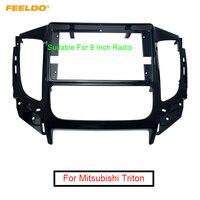 FEELDO Car 9 2Din Fascia Panel Frame Dash Kit For Mitsubishi Triton(2015+) GPS Navigation Installation #AM6264