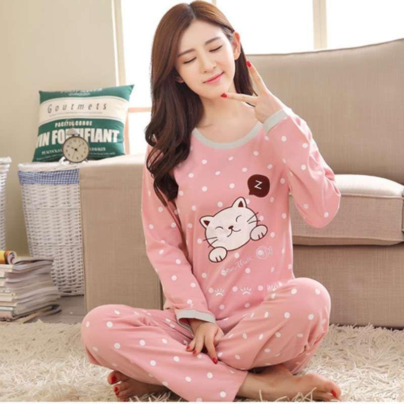 New Women's Cartoon Print Long Sleeves O Neck Autumn Winter Pajama Sets Cartoon Loose Round Neck Sleepwear Full Length