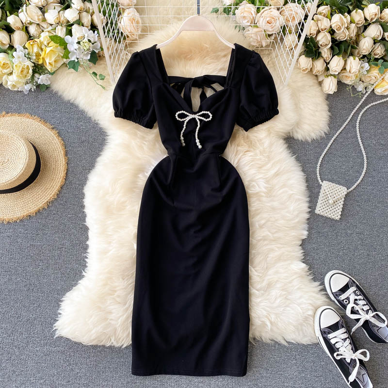 French Retro Style Little Black Dress Formal Dress Western Style Bubble Sleeve Inspirational Backles