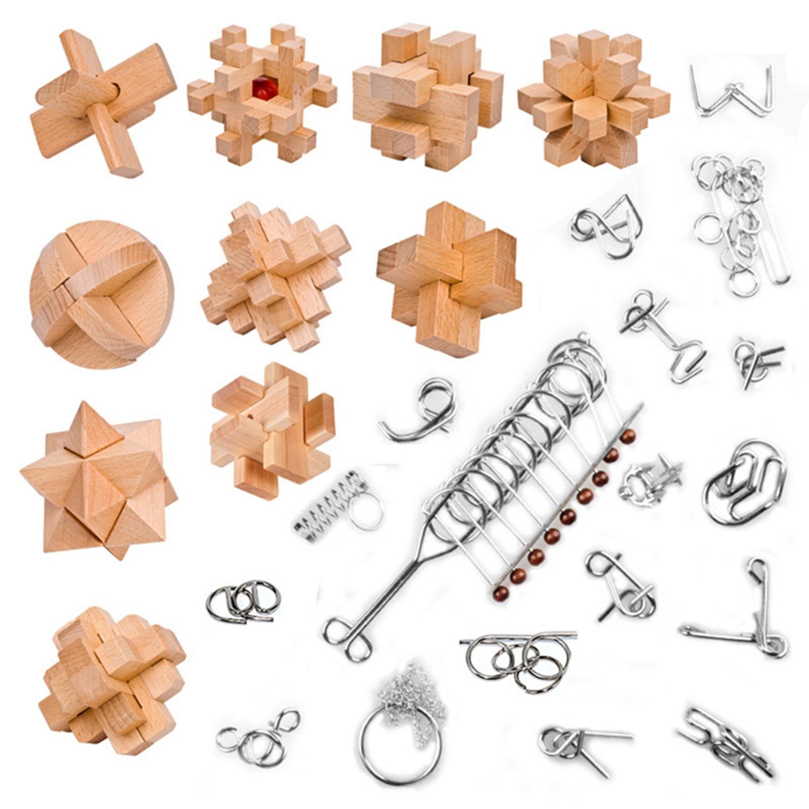28 шт./компл. деревянная головоломка Kongming Luban Lock, металлические головоломки для обучения, обучающая игрушка, подарок для детей и взрослых