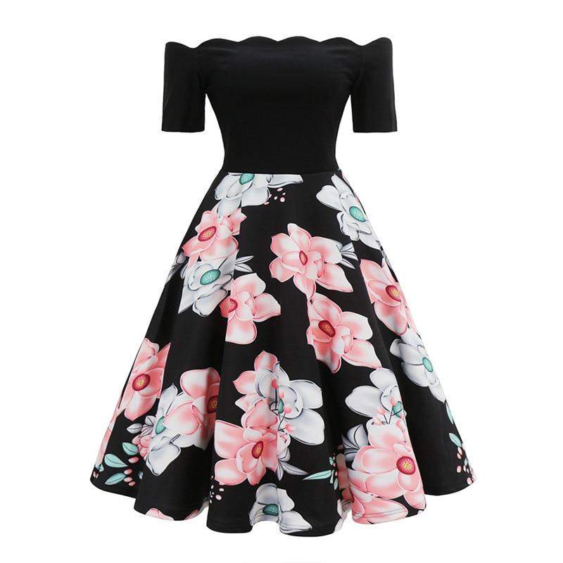 40s 50s 60s vintage swing vestido slash neck feminino uma linha rosa floral túnica midi vestido elegante vestidos de festa 2020 roupas femininas
