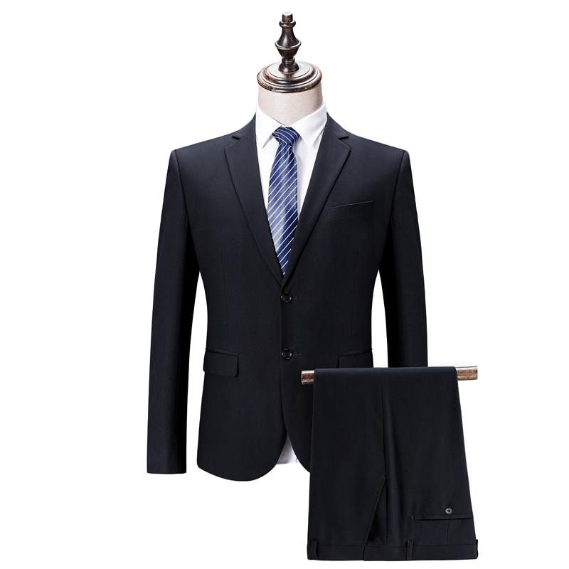 (Куртки + брюки) 2021 мужской смокинг повседневные деловые блейзеры/брендовая одежда модный мужской тонкий костюм из двух частей/свадебное пл...