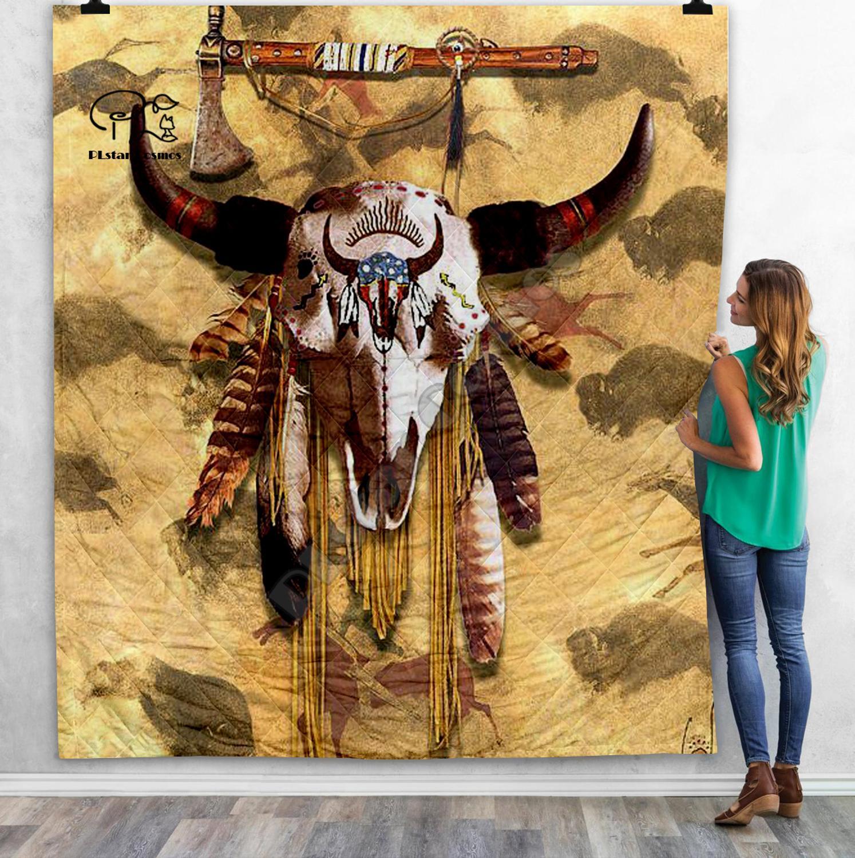 Manta de edredón 3D de soldado de búfalo de cráneo Lakota Indio Nativo negro manta de cama para adultos manta caliente suave con edredón de algodón-7