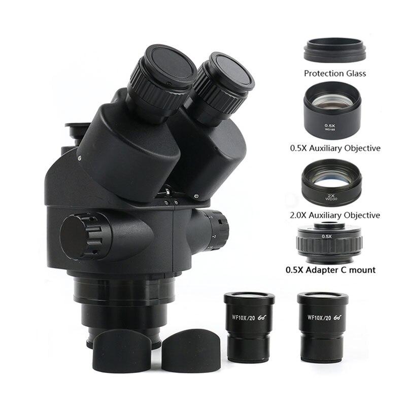 2020 preto 3.5X-90X Simul-Focal Industrial Laboratório trinocular stereo zoom microscópio + 0.5x Auxiliar 2.0x Lente Para PCB Reparo Do Telefone