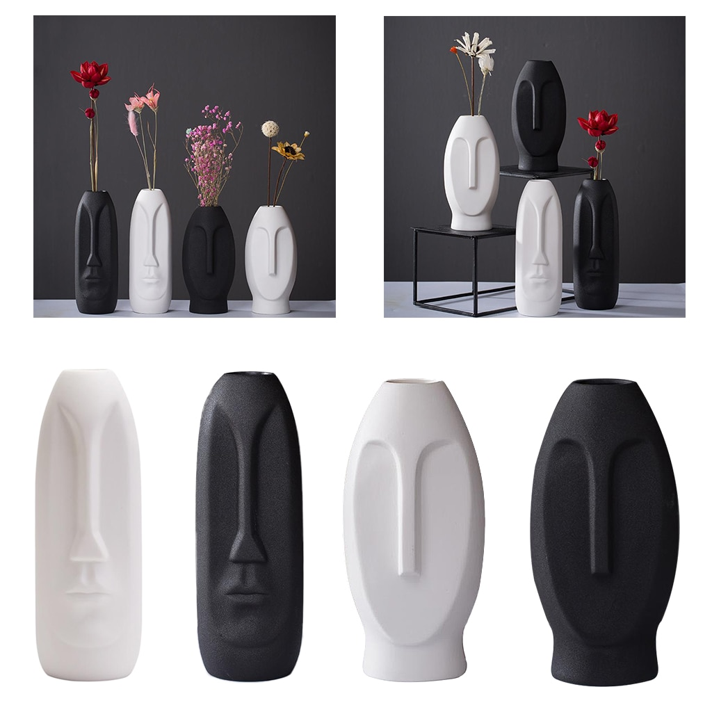 Nordic Creative Human Face Abstract Ceramic Vase, Modern European Succulent  - buy with discount