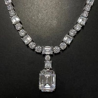 super luxury 925 sterling silver tennis necklace female 14x18 mm emerald cut 17 inch very shiny simulation diamond jewelry