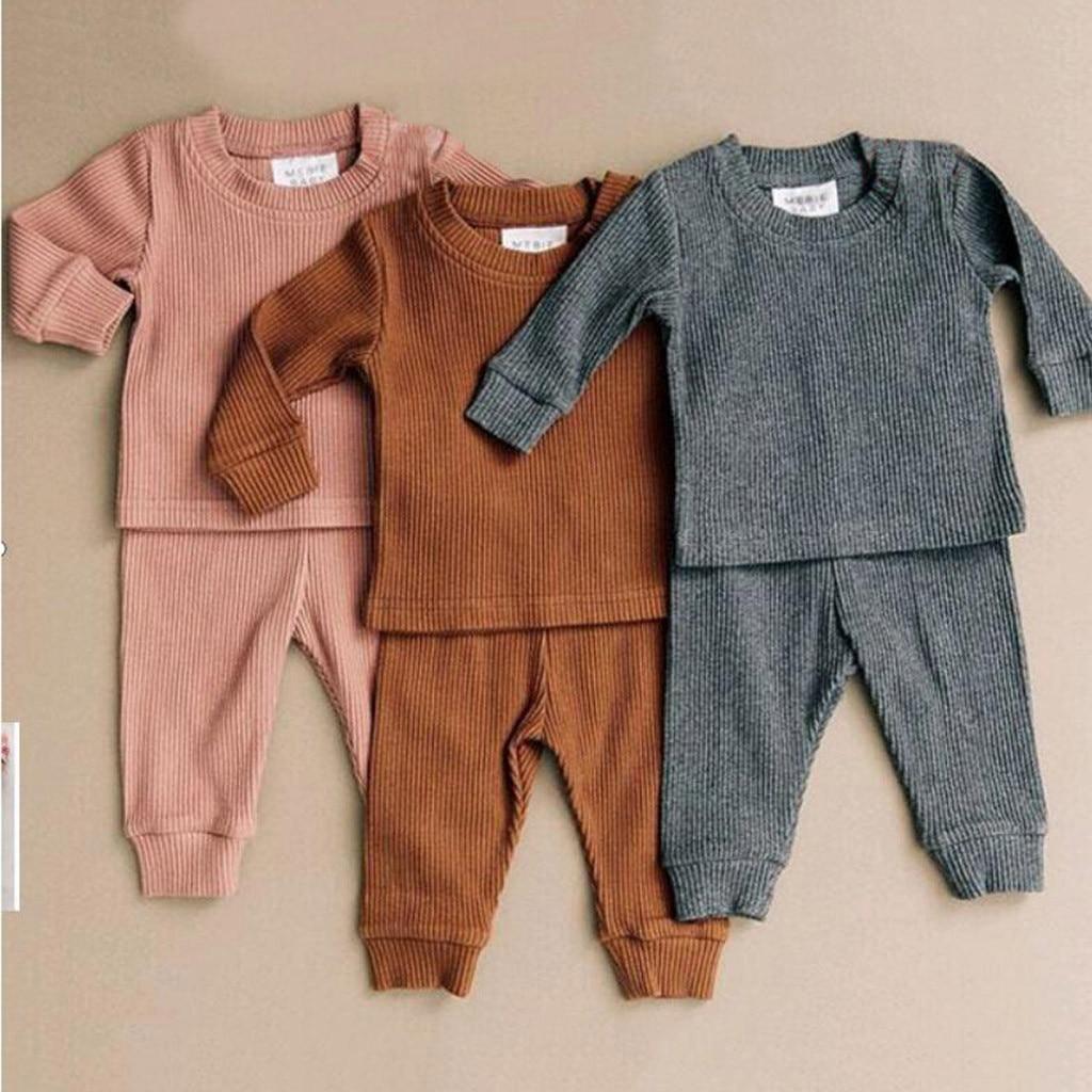 Crianças pijamas conjunto de roupas da criança meninos algodão pijamas terno crianças meninas manga longa tops + calças conjunto com nervuras outfits