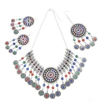 indian jewelry sets vintage silver color rhinestone coin tassel necklace earring hair clips sets afghan wedding bridal jewelry