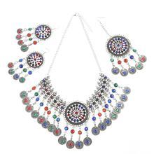 Conjuntos de jóias indianas cor prata do vintage strass moeda borla colar brinco clipes de cabelo conjuntos casamento afegão nupcial jóias
