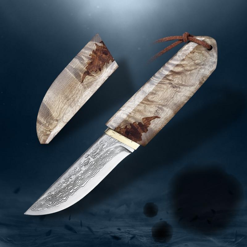 VG10 دمشق الصلب 75 طبقات ، الأبيض الظل الخشب اليابانية السيف شارب التخييم الصيد سكينة للاستعمال الخارجي سلسلة (نمط الساموراي)