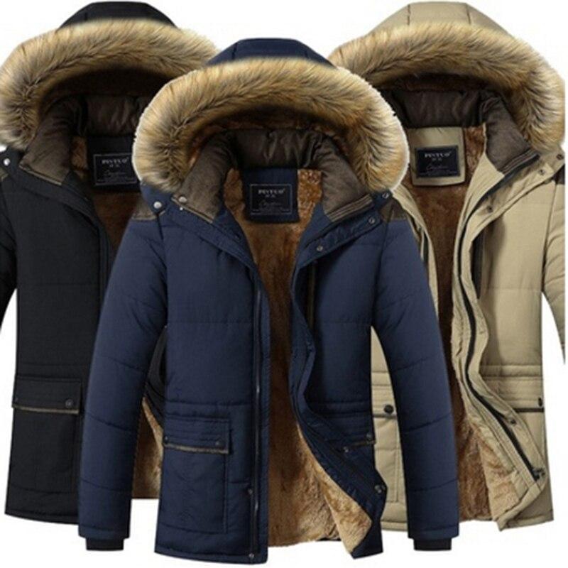 Зимние ветрозащитные парки размера плюс 5XL, мужские однотонные парки, мужские повседневные куртки с хлопковой подкладкой, плотные пальто, п...
