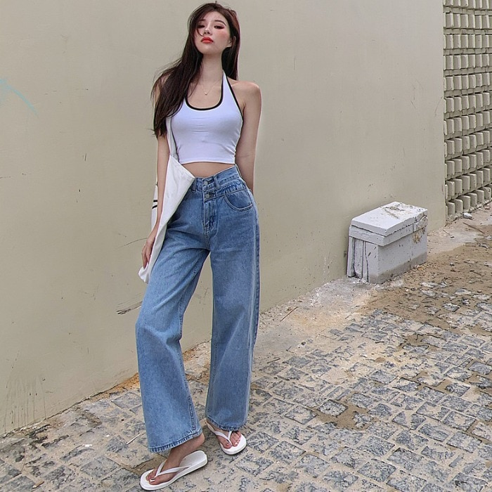 2021 Spring New Casual Versatile Korean Style Straight Wide Leg High Waist Washed Jeans Women's Loos