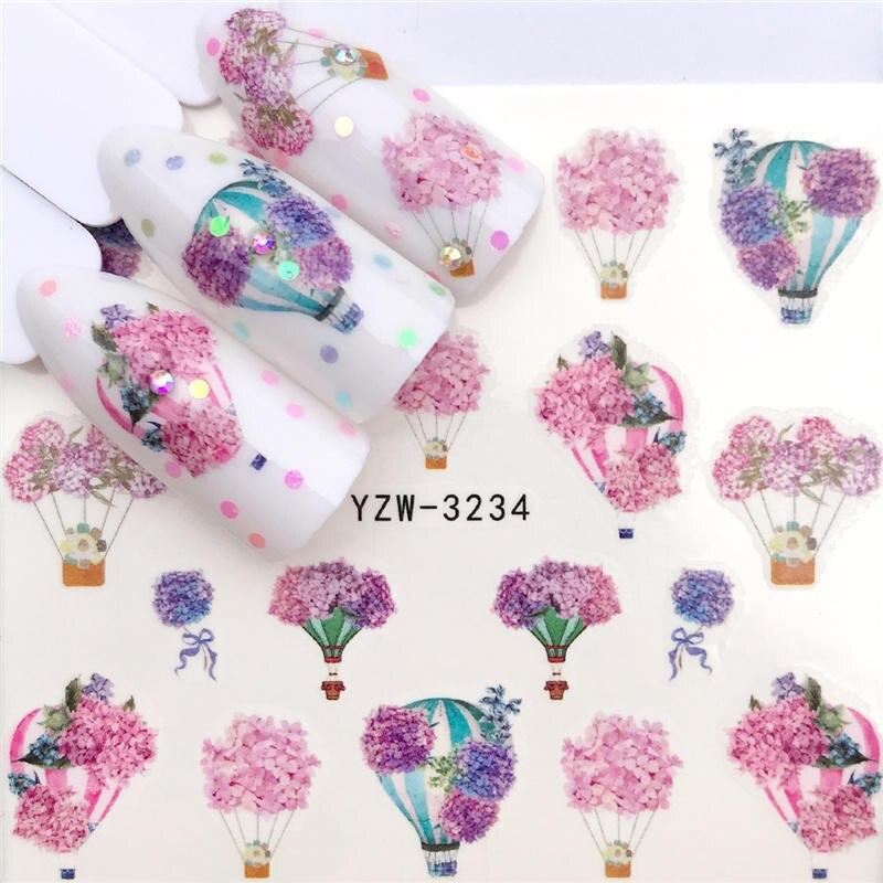 ZKO 2021 Новое прибытие воздушный шар/Лаванда/цветок ногтей водная переводная наклейка украшение для ногтей