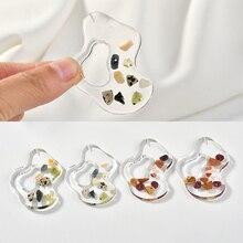 Transparent naturel coquille gravier abstrait eau ondulation en forme de résine pendentif bricolage boucles doreilles bijoux accessoires