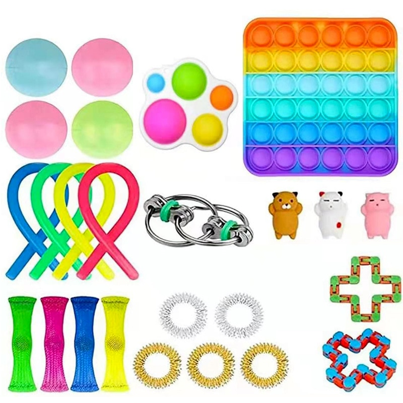 Sensory Fidget Toys Set, Autism Needs Stress Reliever Anxiety Relief Toys, for Birthday Party Favors, Classroom Rewards. enlarge