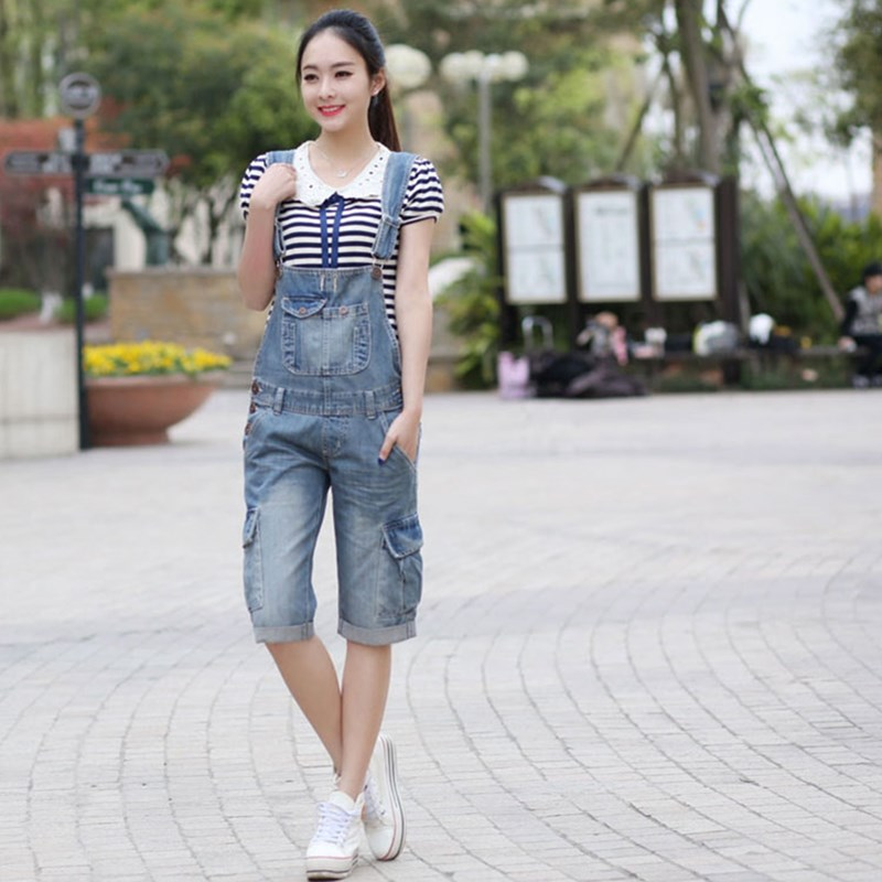 Free Shipping 2021 New Fashion Loose Straight Denim Bb Pants Spaghetti Strap Knee-length Pants With Pockets Jumpsuit And Romper enlarge