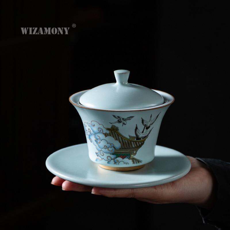 WIZAMONY Tianqing الصقيل Ruyao Ruihe كوب اليابانية كبير السيراميك الشاي كوب سلطانية gaiwan مع صينية