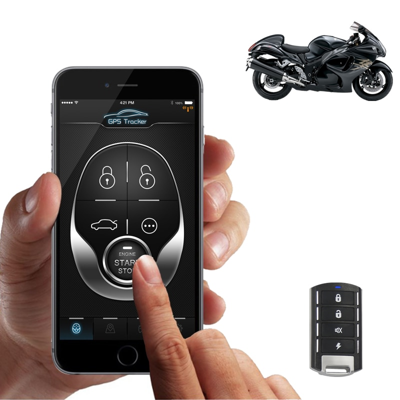 remote engine start stop motorcycle alarm security system/ cut fuel by app on android iphone google map precise location NTG02M