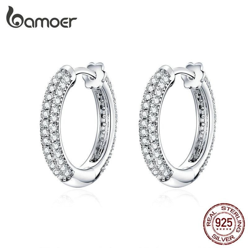 bamoer Ear Hoops 925 Sterling Silver Luxury Hoop Earrings for Women Wedding Engagement Jewelry Gifts Accessories 2021 BSE300