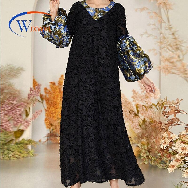 WJXWKL 2021 ربيع الخريف حجم كبير المرأة الدانتيل الأسود التباين اللون العرقية كم طويل مسلم الإسلامية قفطان ماكسي فستان