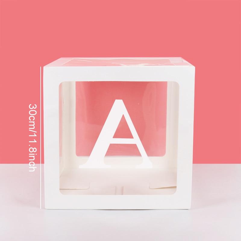 Купить с кэшбэком Alphabet A-Z Transparent Packing Box Wedding Balloon Box 1st Kids Birthday Party Gift Wedding Decoration Baby Shower Supplies