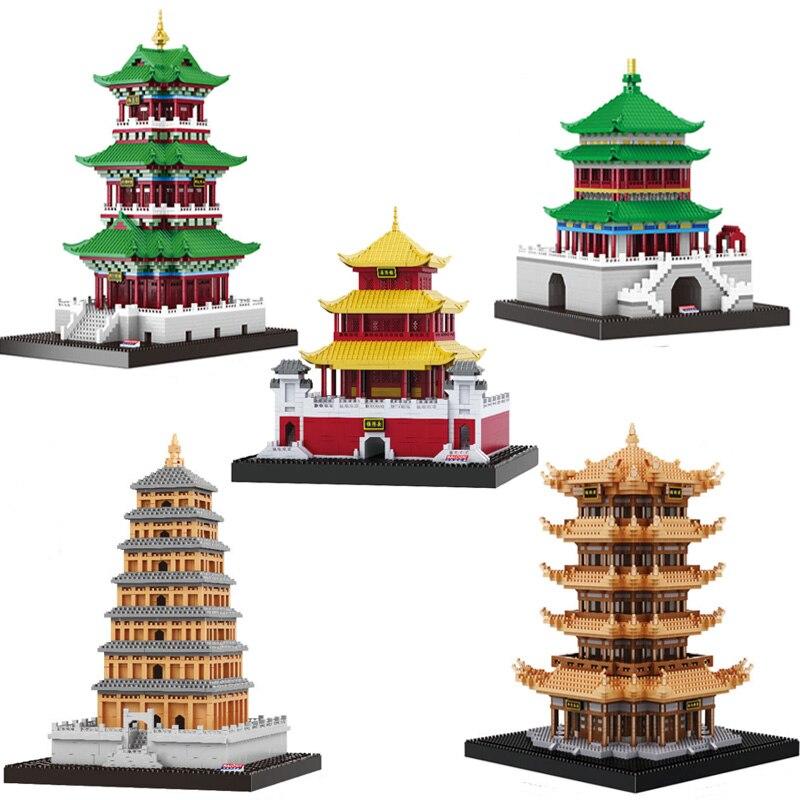 Знаменитая Древняя китайская архитектура модель башни строительные блоки Обучающие Детские игрушки Кирпичи подарки