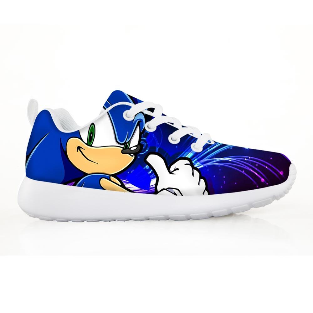 2019 zapatos de moda para niños zapatillas para niños niñas Pretty Sonic the Hedgehog niños pisos casuales Breath cordones zapatos