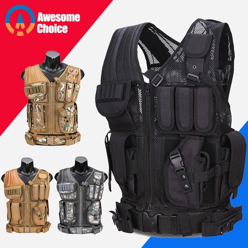 Chaleco táctico militar modelo 045 para hombres, chaleco de camuflaje para caza Molle, porta Placa de caza de asalto con pistolera