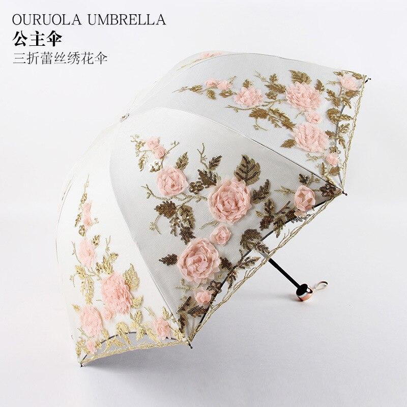 Tres veces de doble capa de hua san protección UV sombrilla 1821 sombrilla encaje 【xiu】 artesanía hua san lluvia o brillo de doble uso