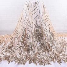 Doré africain dentelle tissu brodé nigérian paillettes dentelle tissu de haute qualité français Tulle dentelle tissu pour les femmes WeddingA1737