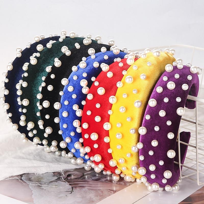 1PC Fashion Nail Pearl Headband Velvet Sponge Fabric Wide-Brimmed Headband Solid Color Hairband Women Head Wear Accessories