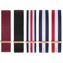 Premium brand 14MM 16MM 18mm 20mm 22MM nylon rose gold and silver couple men and women strap watch f