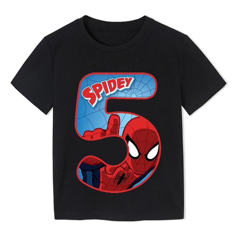 Verano 2020 Feliz cumpleaños héroe Spiderman número niños camisetas superhéroe niño camiseta bebé niña ropa 3-9t