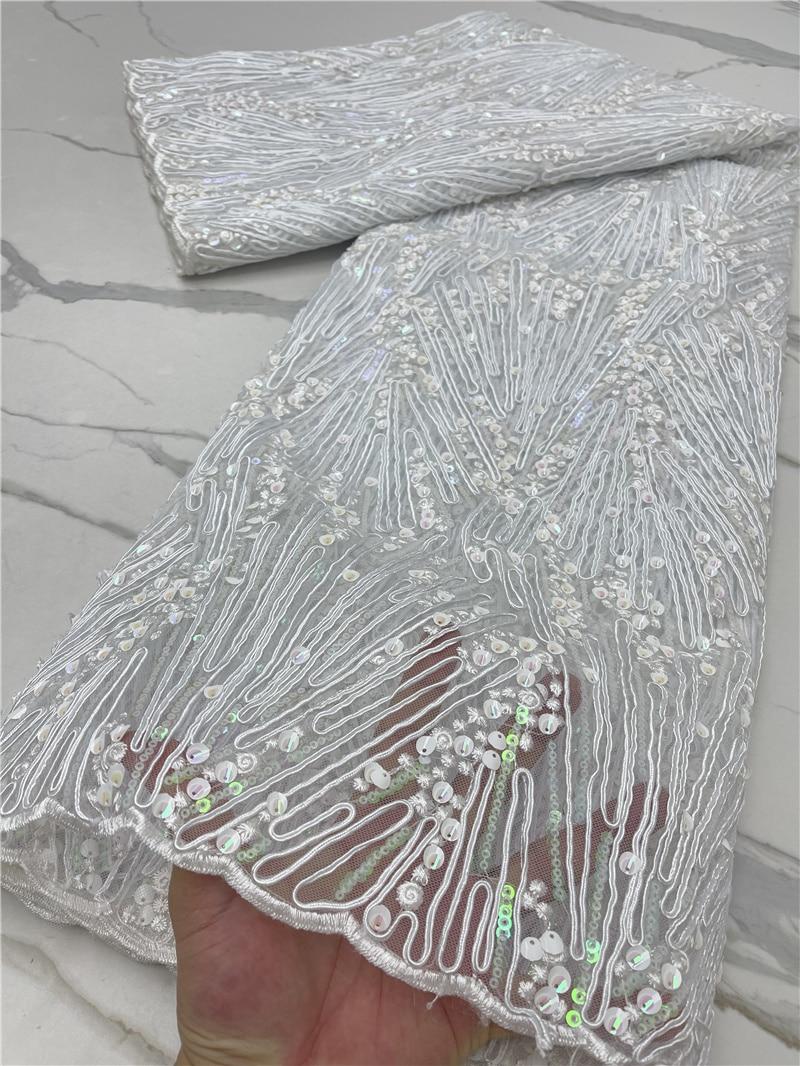 PGC ترتر قماش دانتيل أبيض دانتيل قماش 2021 شمسيّة دانتيل عالية الجودة مادة عرس أفريقي شبكة دانتيل نسيج لفستان YA4242B-7