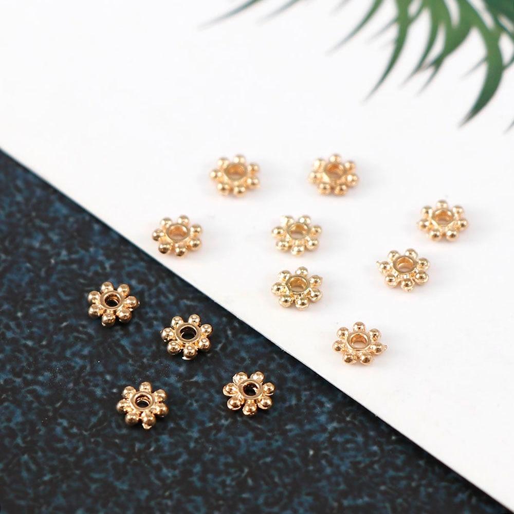 4mm 100 piezas Metal Vintage brillante hueco oro flor espaciador cuentas extremo tapas colgante moda DIY dijes conectores joyería conclusiones